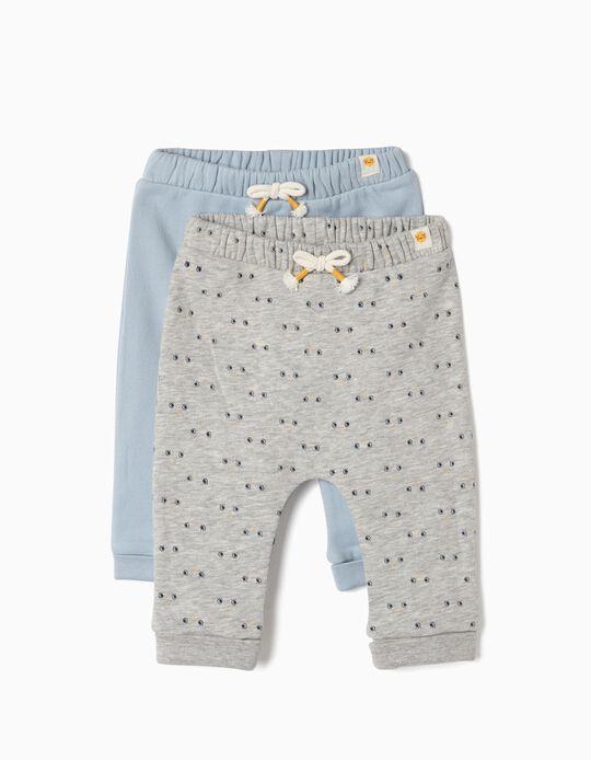 2 Pantalones para Recién Nacido 'Smile', Gris y Azul