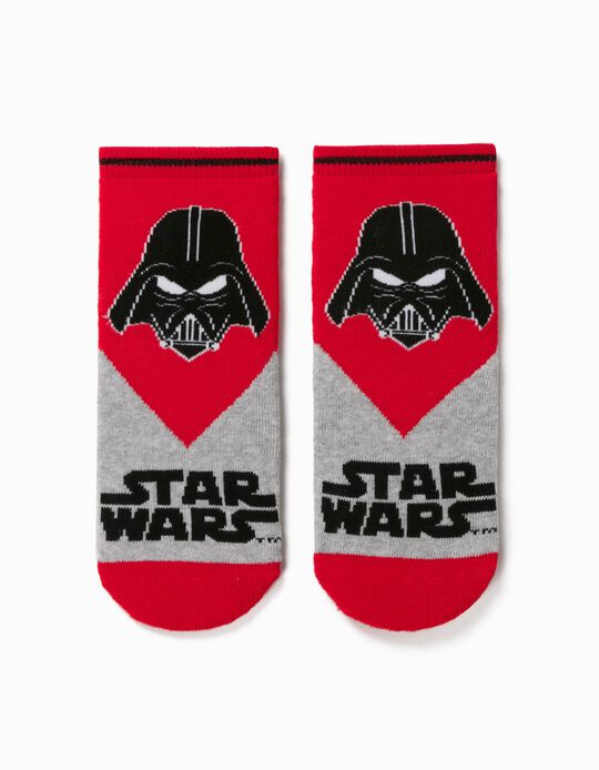 Non-Slip Socks for Boys, 'Star Wars', Grey/Red