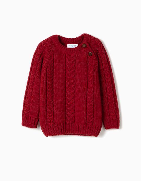 Jersey de Punto para Bebé Niño 'B&S', Rojo Oscuro
