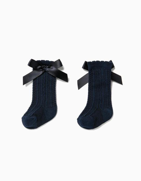 Knee-High Socks with Bow for Baby Girls, Dark Blue