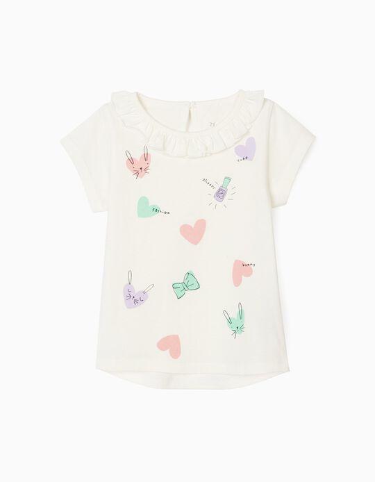 Camiseta para Bebé Niña 'Fashion', Blanca