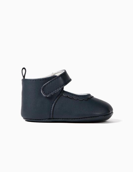 Pram Shoes with Touch Fastener, for Newborn Baby Girls, Dark Blue