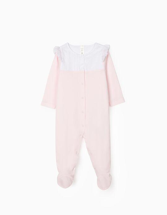 Babygrow for Newborn Baby Girls, Pink/White