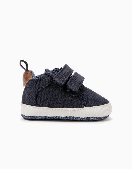 Zapatillas para Recién Nacido con Doble Pieza Autoadherente, Azul Oscuro