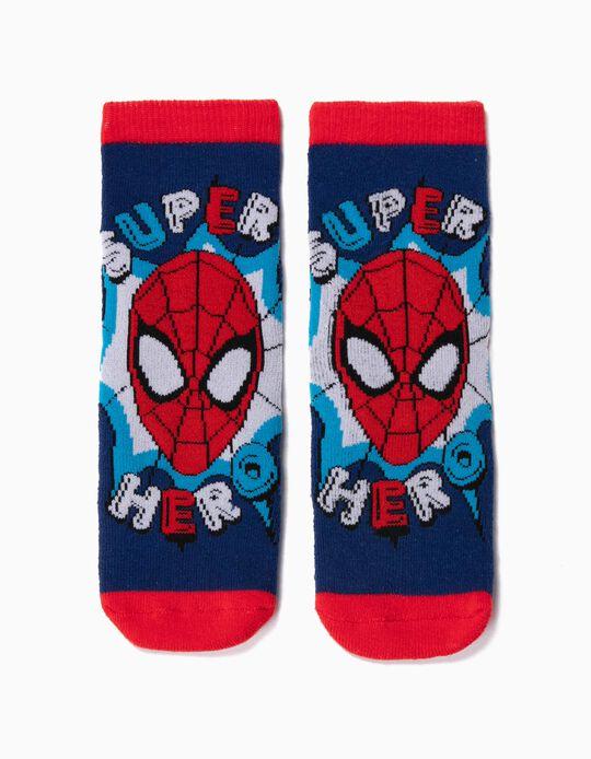 Meias Antiderrapantes para Menino 'Spider-Man', Azul/Vermelho