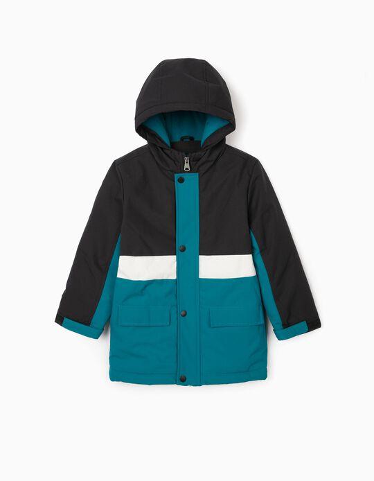 Padded Jacket for Boys, Blue/Black/White