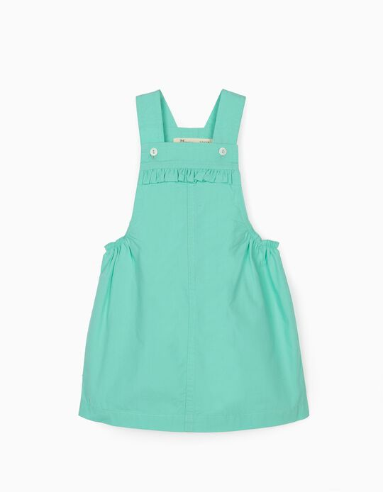 Pinafore Dress for Baby Girls, Aqua Green