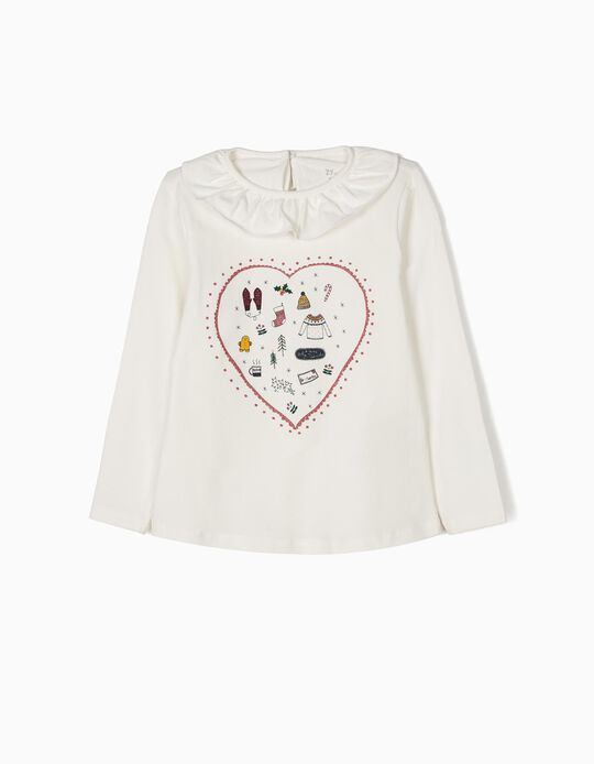Camiseta de Manga Larga Christmas Heart Blanca