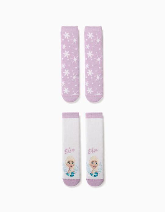 2 Pares Calcetines Antideslizantes para Niña 'Frozen', Blanco/Lila