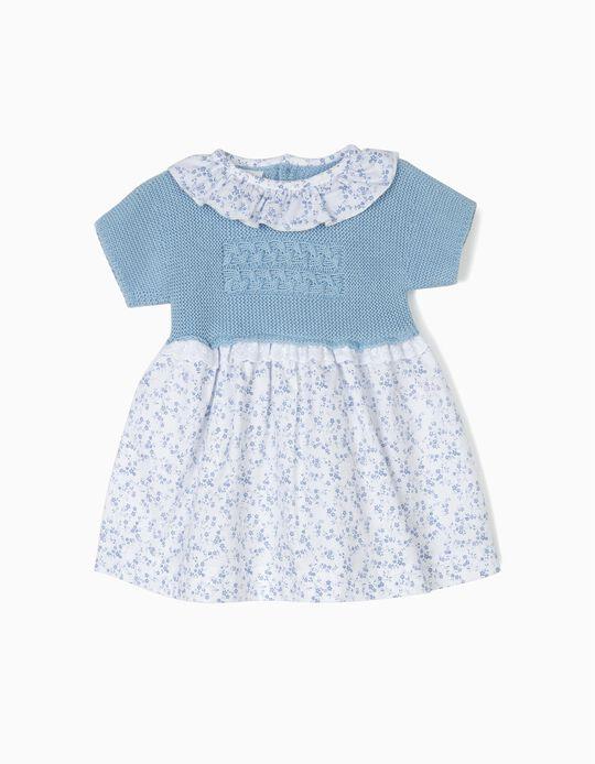 Vestido Combinado para Recém-Nascida Flores, Branco e Azul
