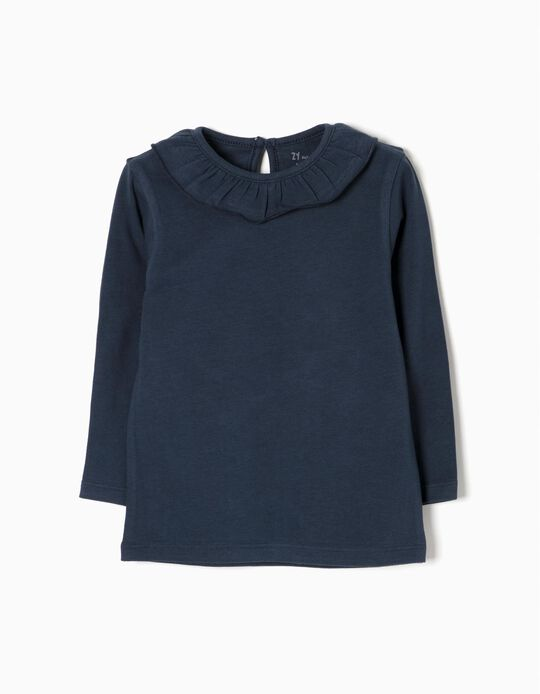 Camiseta de Manga Larga para Bebé Niña con Volante, Azul Oscura