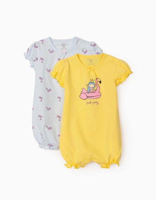2 grenouillères manches courtes bébé fille 'Pool Party', jaune/bleu clair