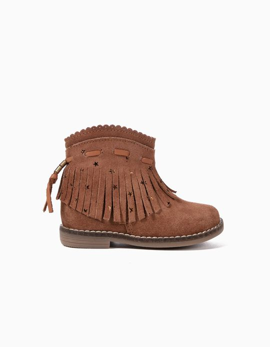 Leather Boots for Baby Girls 'Fringes', Brown