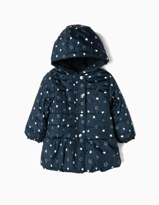 Cazadora Acolchada para Bebé Niña 'Stars', Azul Oscura