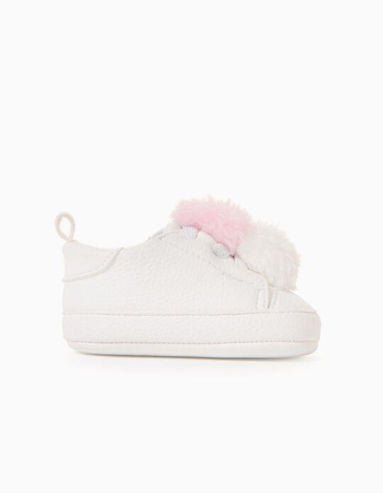 Zapatillas para Recién Nacida 'Pompones', Blanco/Rosa