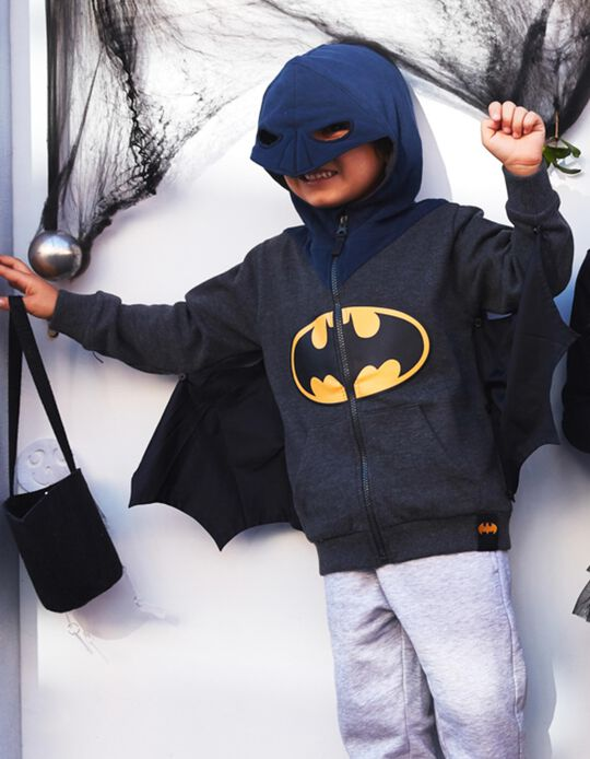 Casaco com Capuz-Máscara e Asas para Menino 'Batman', Cinza/Azul
