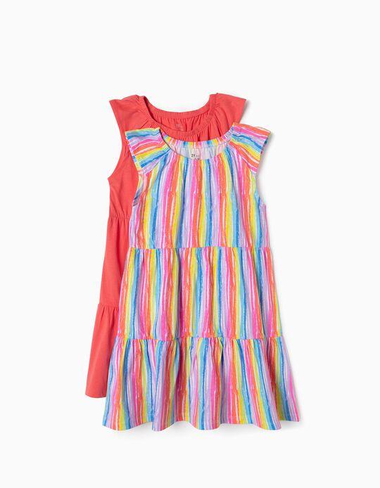 2 Vestidos Jersey para Menina, Multicolor