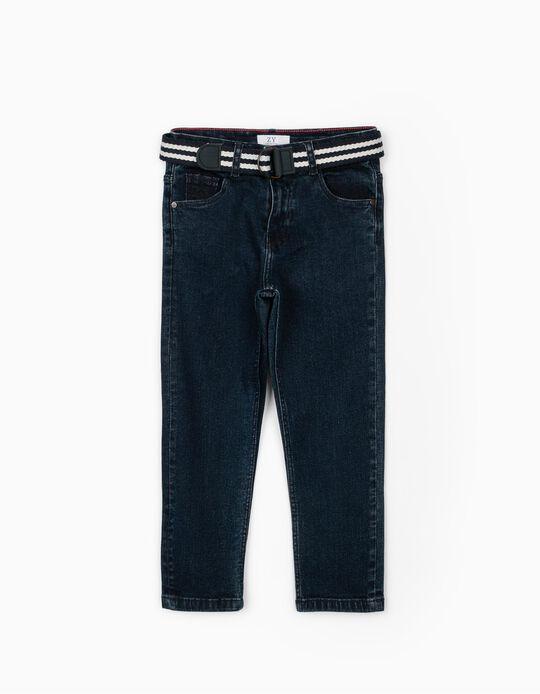 Pantalón Vaquero con Cinturón para Niño, Azul Oscuro