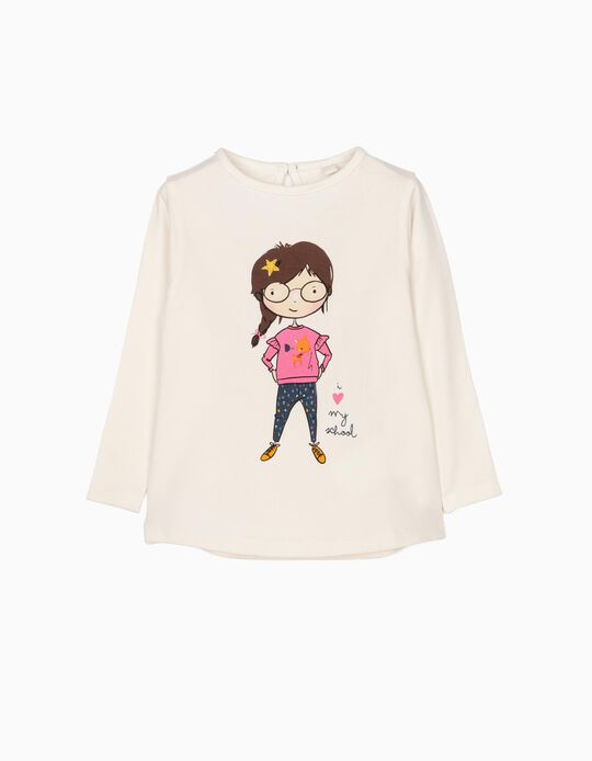 Camiseta de manga larga Love School blanca