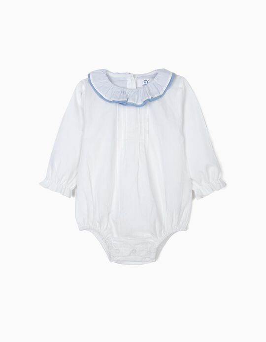 Body-Blusa para Recém-Nascida com Folhos, Branco