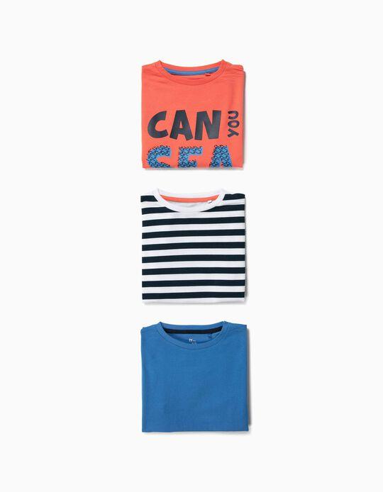 3 Camisetas para Niño 'Sea', Multicolores