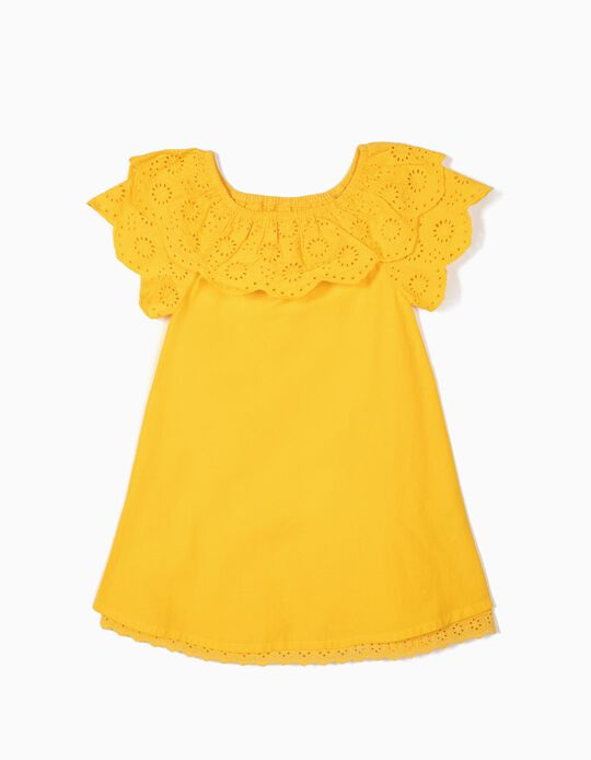 Vestido para Menina com Bordado Inglês, Amarelo