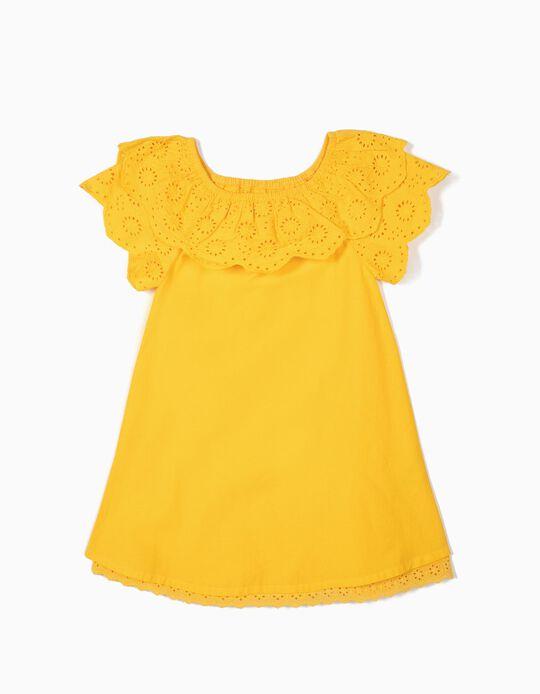 Vestido para Niña con Bordado Inglés, Amarillo