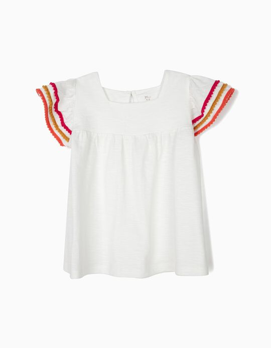 T-shirt para Menina com Pompons, Branco