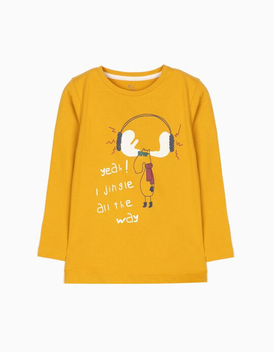 Camiseta de Manga Larga Jingle All the Way Amarilla