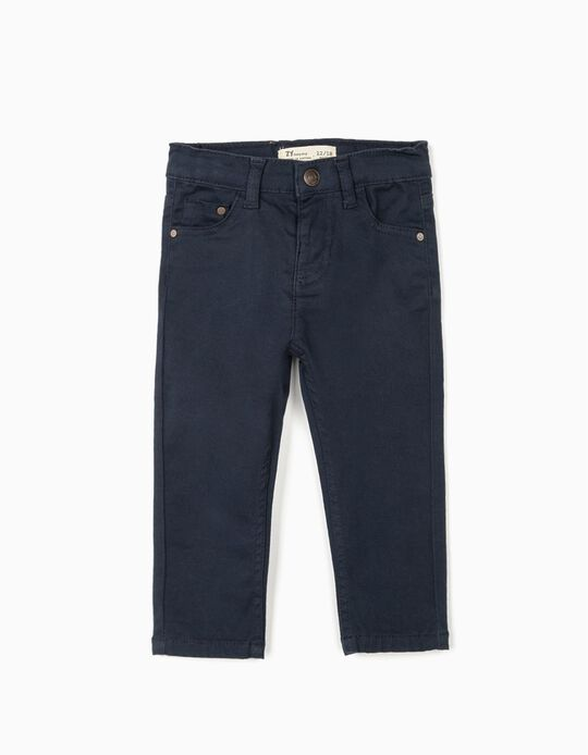 Twill Trousers for Baby Boys, Dark Blue