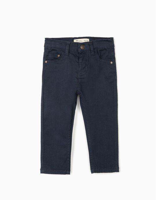 Pantalón de Sarga para Bebé Niño, Azul Oscuro
