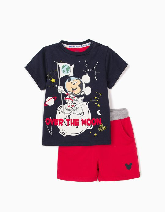 T-shirt and Shorts for Baby Boys, 'Mickey Moon', Blue/Red