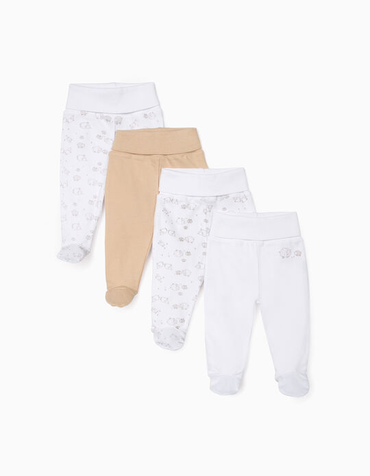 4 Pairs of Footed Trousers for Babies, 'Sheep', White/Beige