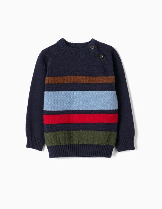 Camisola de Malha para Menino 'Stripes', Azul Escuro