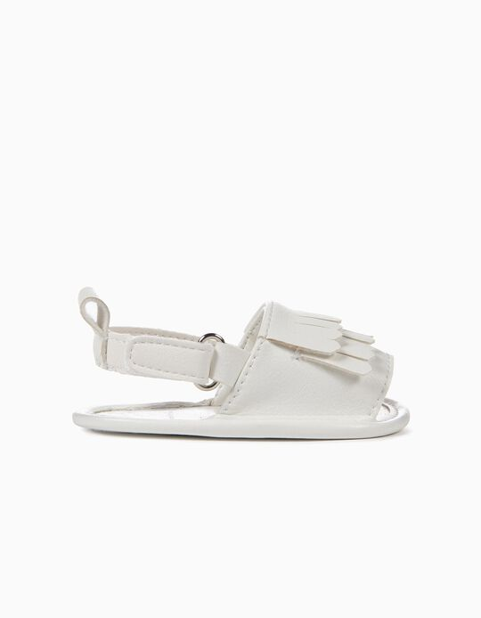 Sandals with Fringes for Newborn Girls, White