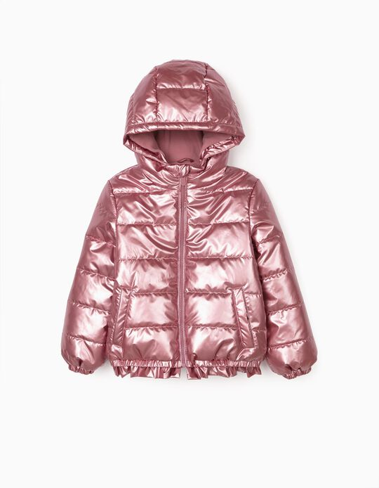 Blusão Acolchoado para Menina, Rosa Metalizado