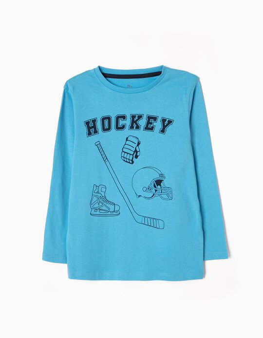 T-shirt Manga Comprida Hockey Azul Clara