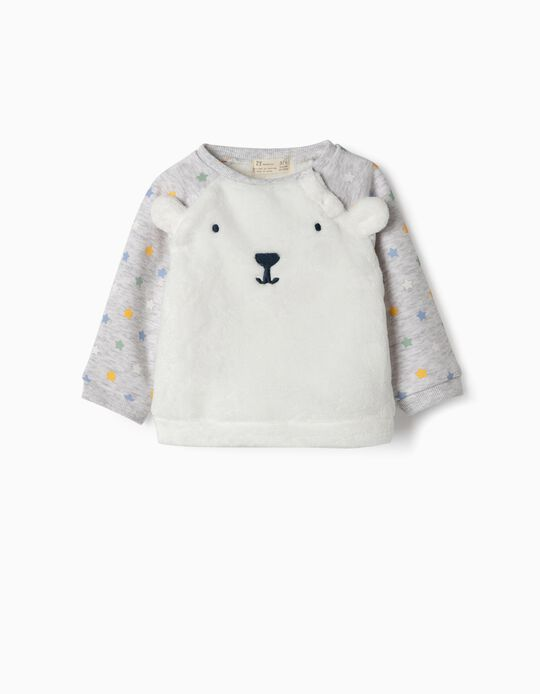 Combined Sweatshirt for Newborn Boys 'Bunny & Stars', Grey