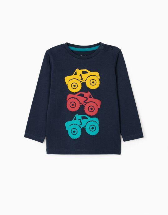 T-shirt Manga Comprida para Bebé Menino 'Trucks', Azul Escuro