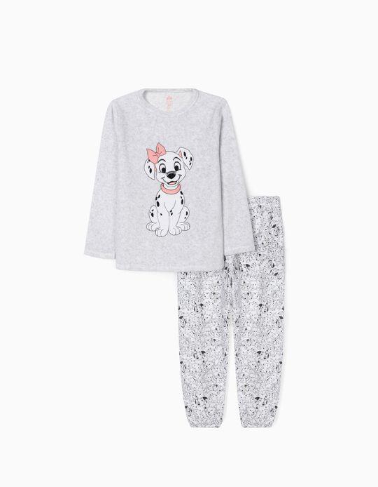 Pijama Terciopelo para Niña '101 Dálmatas', Gris/Blanco