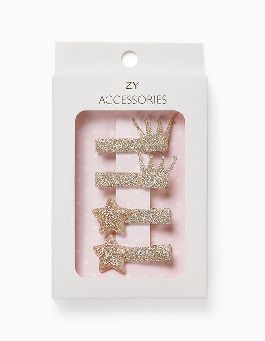 4 Hair Clips for Girls, 'Stars & Crowns', Golden