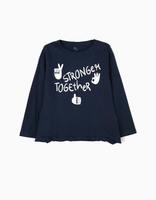 Camiseta de Manga Larga para Niña 'Stay Strong', Azul