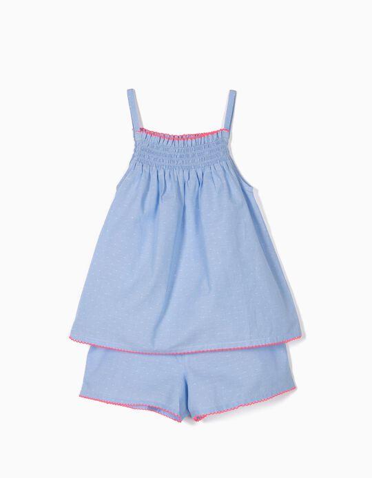 Pijama para Menina com Textura, Azul