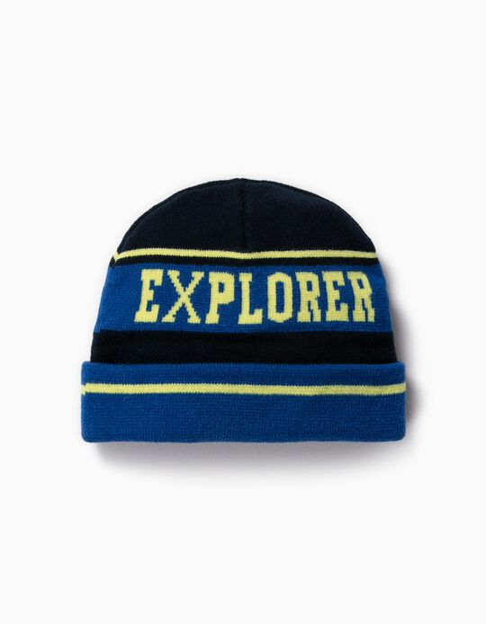 Knit Beanie for Boys 'Exlorer', Blue