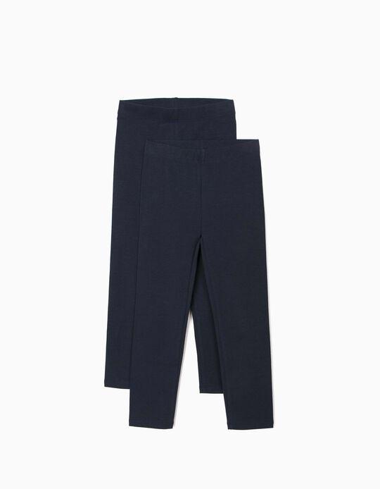 2 Pairs of Leggings for Girls, Dark Blue