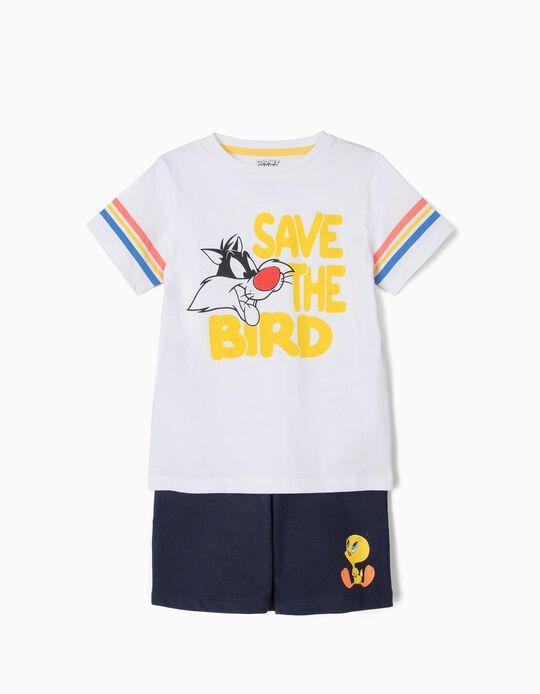 Camiseta y Short para Niño 'Silvestre & Piolín', Blanco y Azul