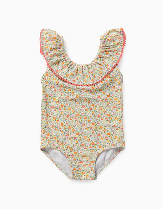 Swimsuit for Baby Girls, UV 80 Protection, 'Flowers', White