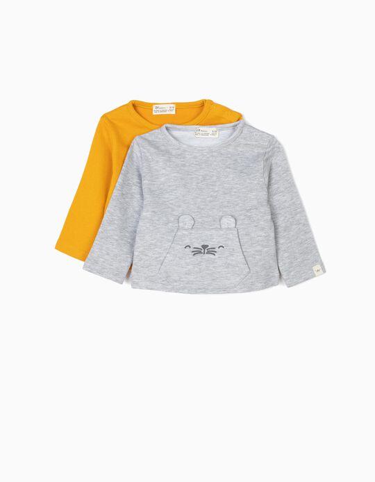 2 Sweatshirts para Recém-Nascido 'Animals, Cinza e Amarelo-Torrado