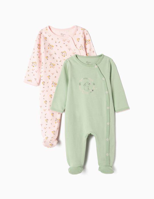 2 Babygrows para Recém-nascida 'Cute Bunny', Rosa e Verde