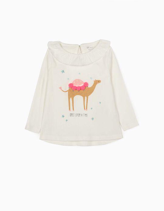 Camiseta de Manga Larga para Bebé Niña 'Once Upon a Time', Blanca